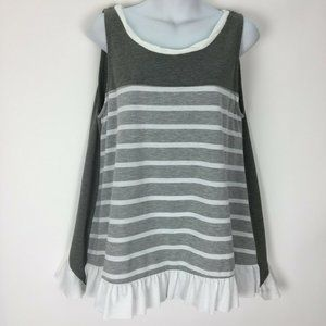 Umgee Medium Gray Striped Top Shirt Stretch Knit
